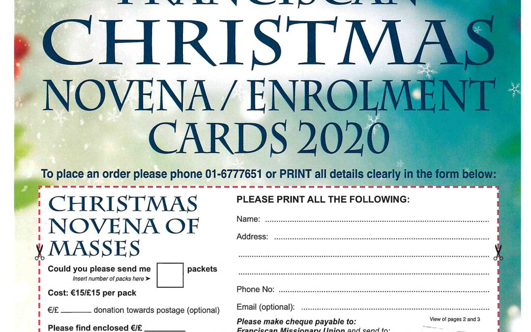 Christmas enrolment and novena cards and other Christmas items now available in our FMU Shop at Adam and Eve's. Shop Phone: 01-6777651 Monday to Friday 9.30 am to 4.00 pm