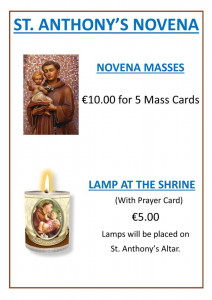 St Anthony's September novena and Church services update