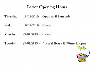 Easter Opening Hours  Mass Office/FMU Shop/Reception