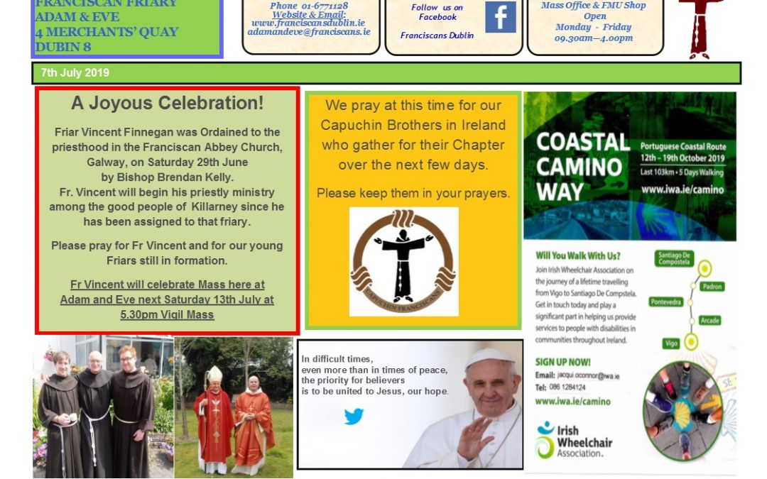 Newsletter Sunday 7th July
