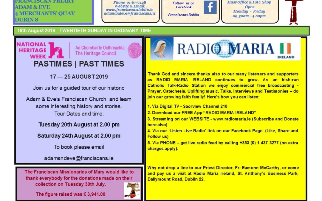 Newsletter Sunday 18th August 2019