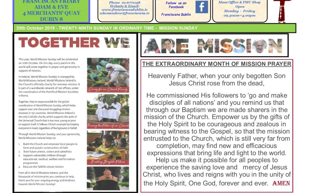 Newsletter Mission Sunday 20th October 2019
