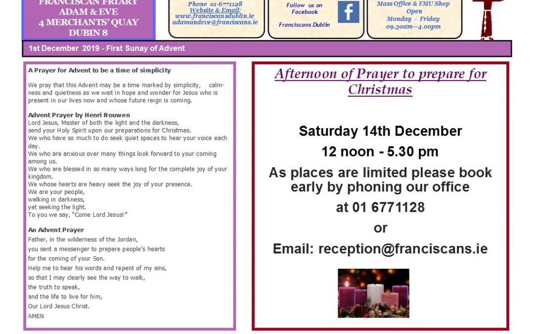 Adam & Eve Church – Newsletter Sunday 1st December