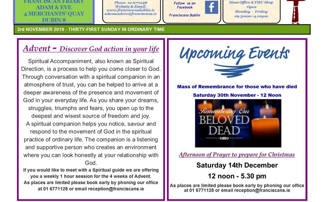 Adam & Eve Church –  Newsletter Sunday 3rd November