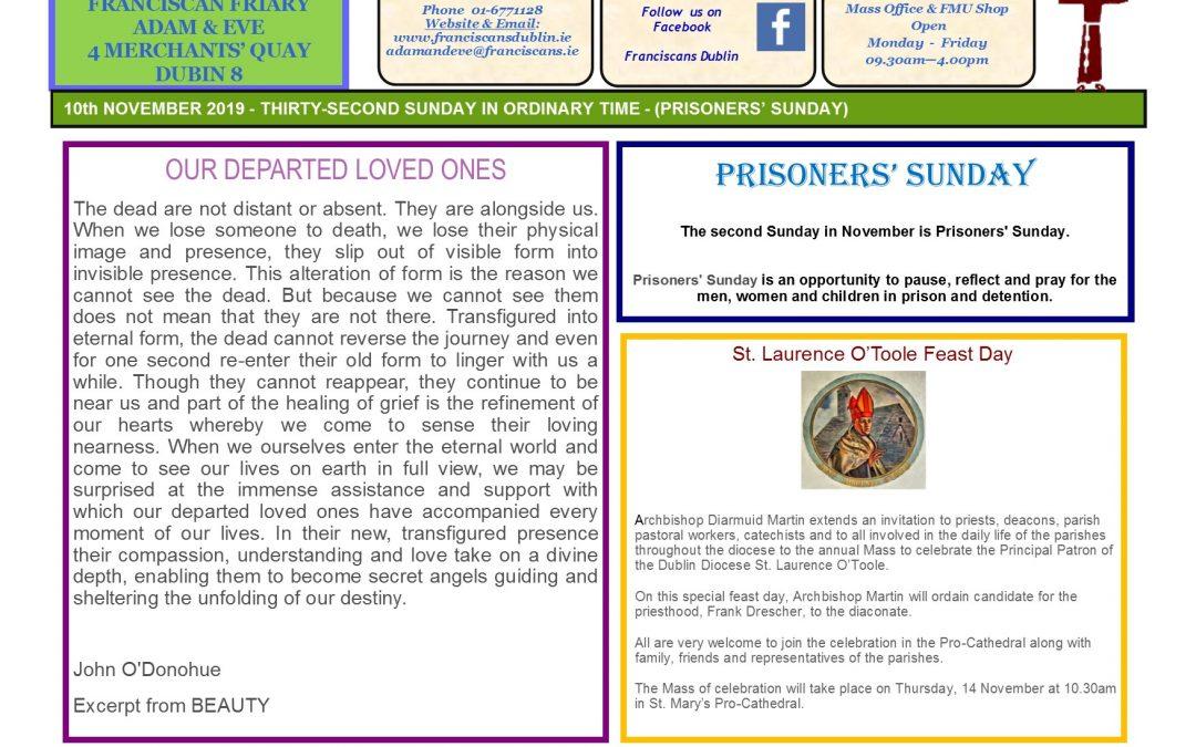 Adam & Eve Church – Newsletter Sunday 10th November