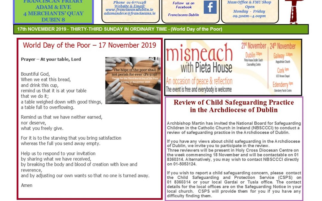 Adam & Eve Church – Newsletter Sunday 17th November