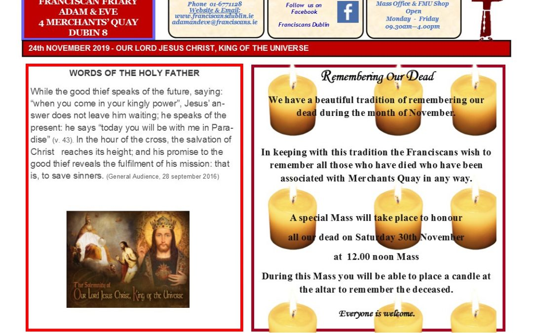 Adam & Eve Church – Newsletter Sunday 24th November