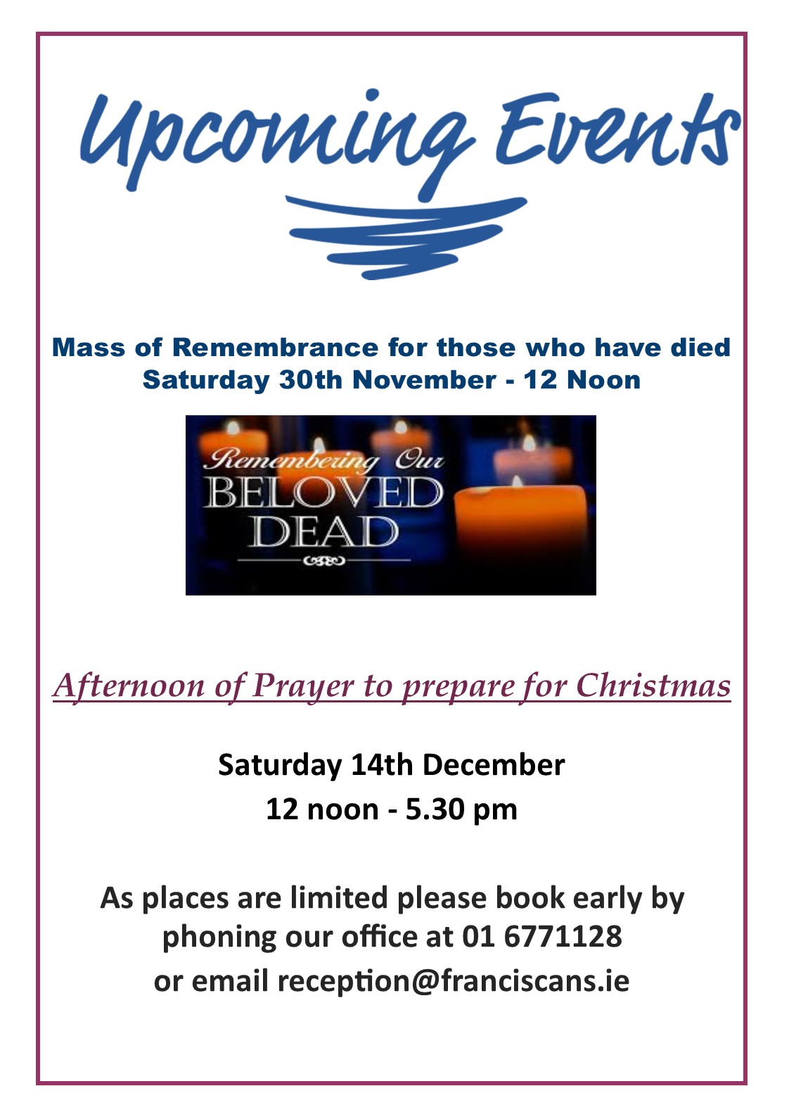 Advent retreat and mass for dead poster 2019
