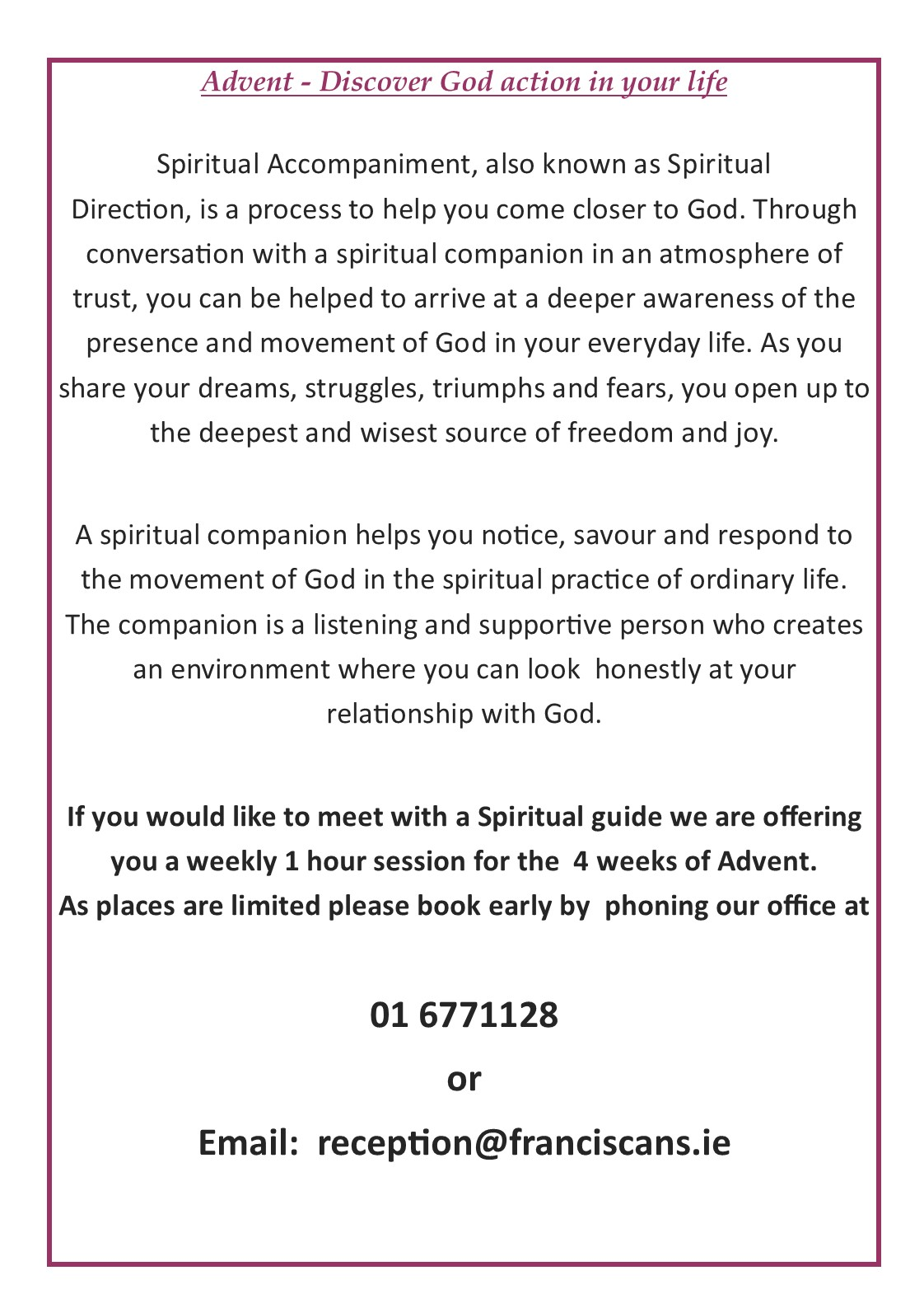 Advent spiritual direction poster 2019