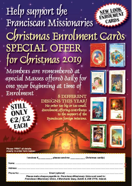 Christmas enrolment and novena cards now available in our FMU Shop at Adam and Eve's. Shop open Monday to Friday 9.30 am to 4.00 pm Phone: 01-6777651