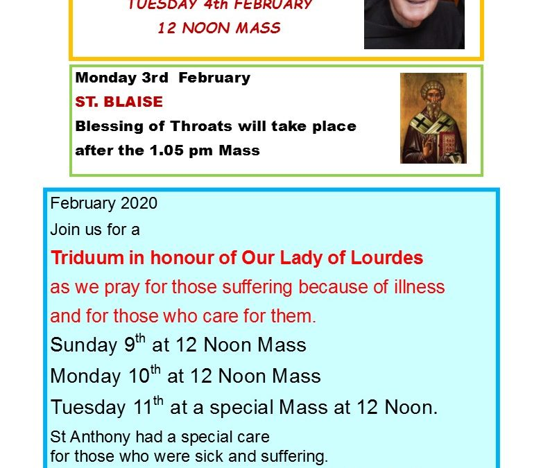 Adam & Eve Church – Newsletter Sunday 2nd February