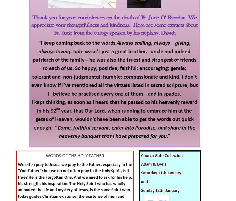 Adam & Eve Church – Newsletter Sunday  12th January