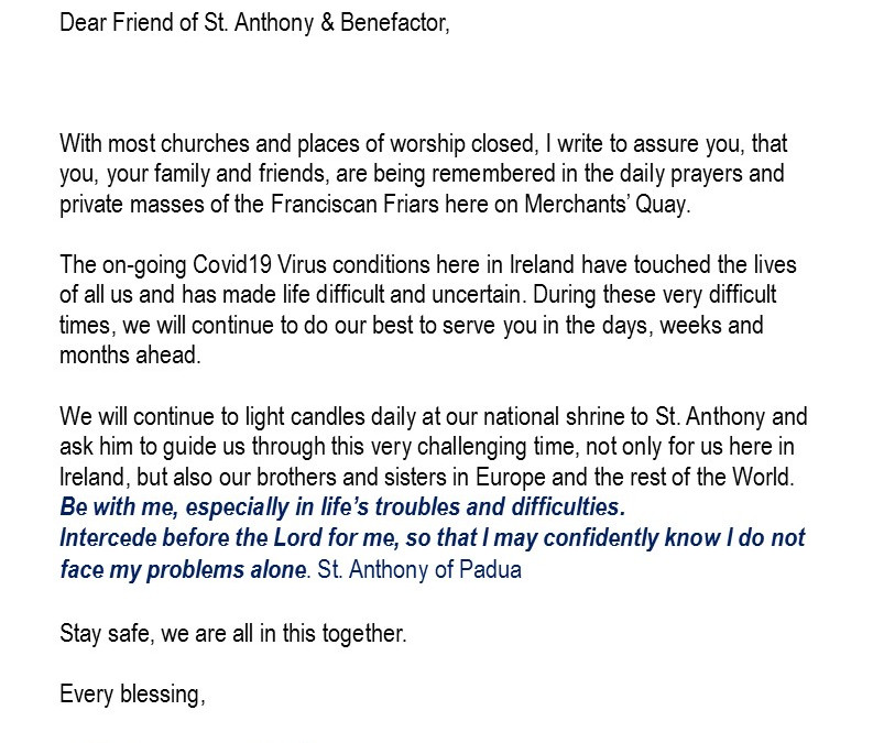 A message from our Guardian Br. Niall O'Connell